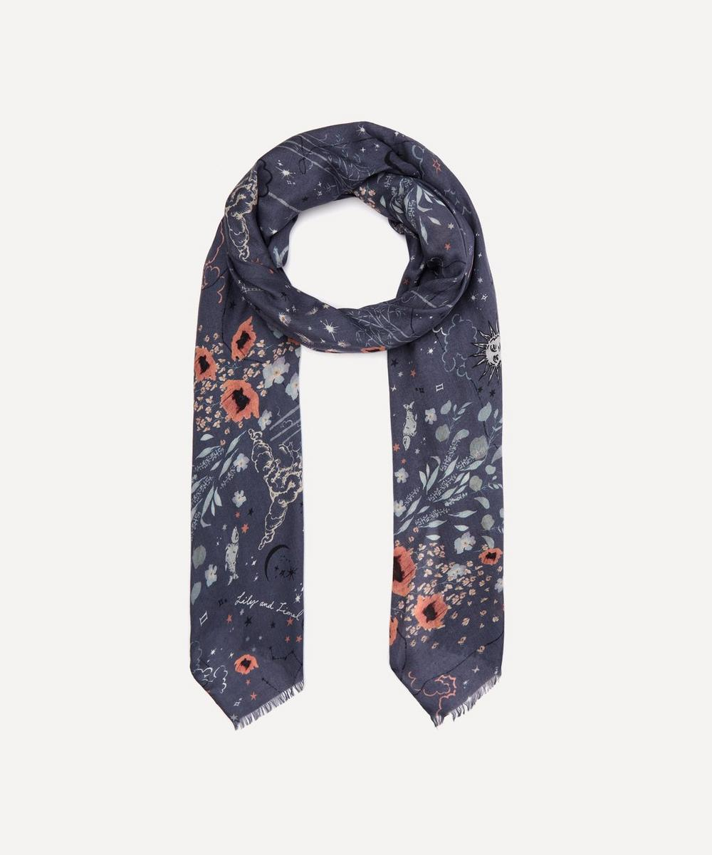 Lily And Lionel Zodiac Modal-blend Scarf In Blue