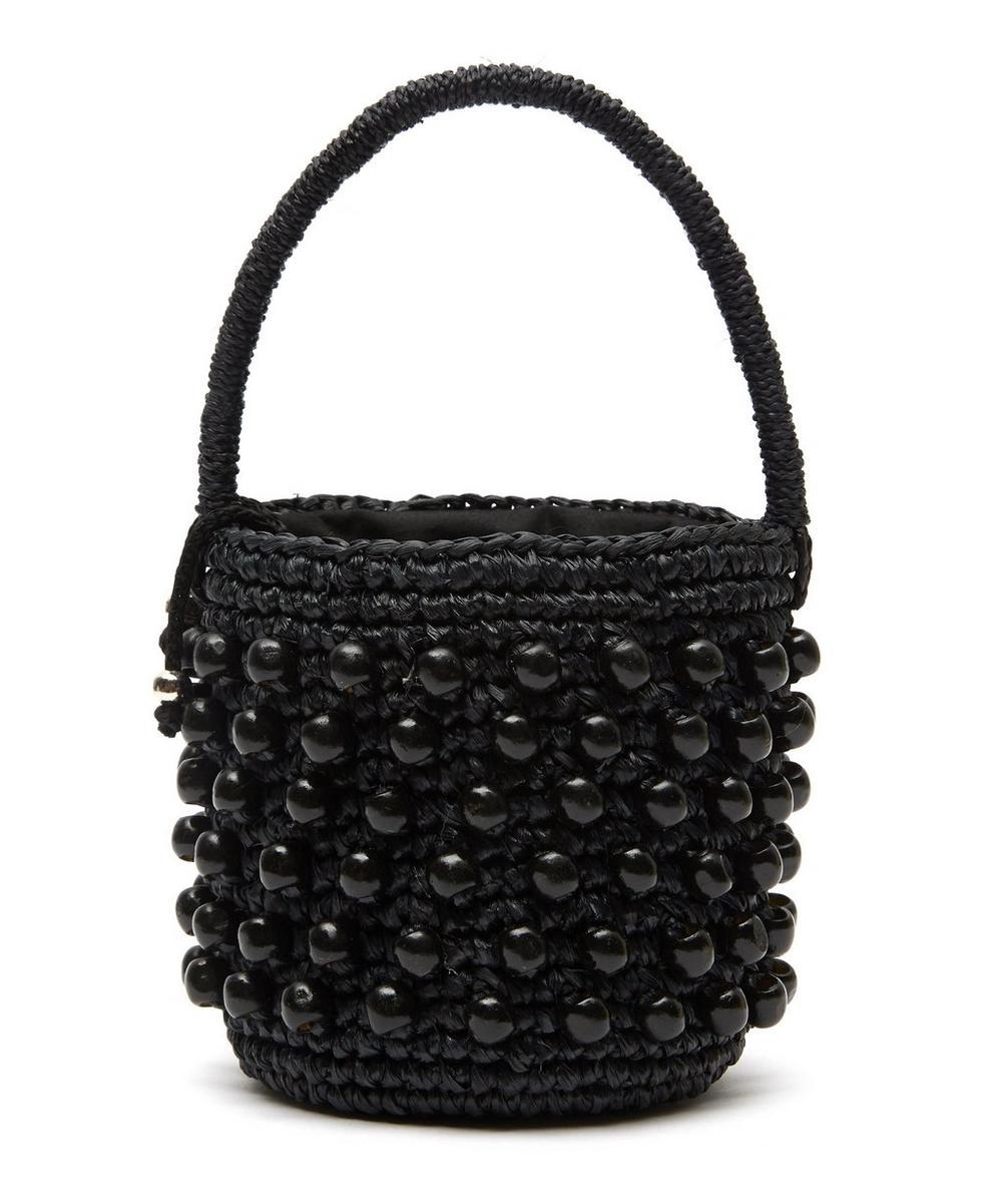 Mini Beaded Straw Bucket Bag