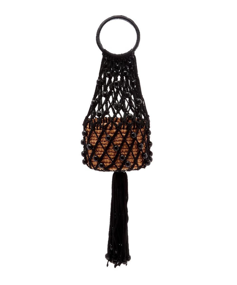Mini Macramé Beaded Straw Bucket Bag