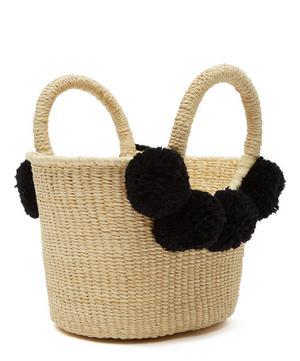 Baby Canasta Pom Pom Straw Tote Bag