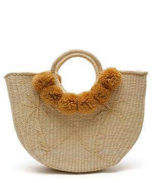 Canasta Palmas Pom Pom Straw Tote Bag