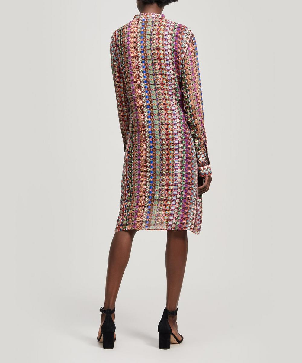 Semi-Sheer Button Print Shirt Dress