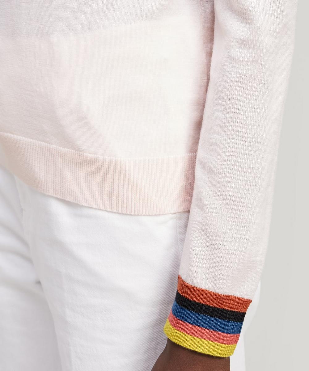 Merino Wool Sweater With Artist Stripe Cuffs