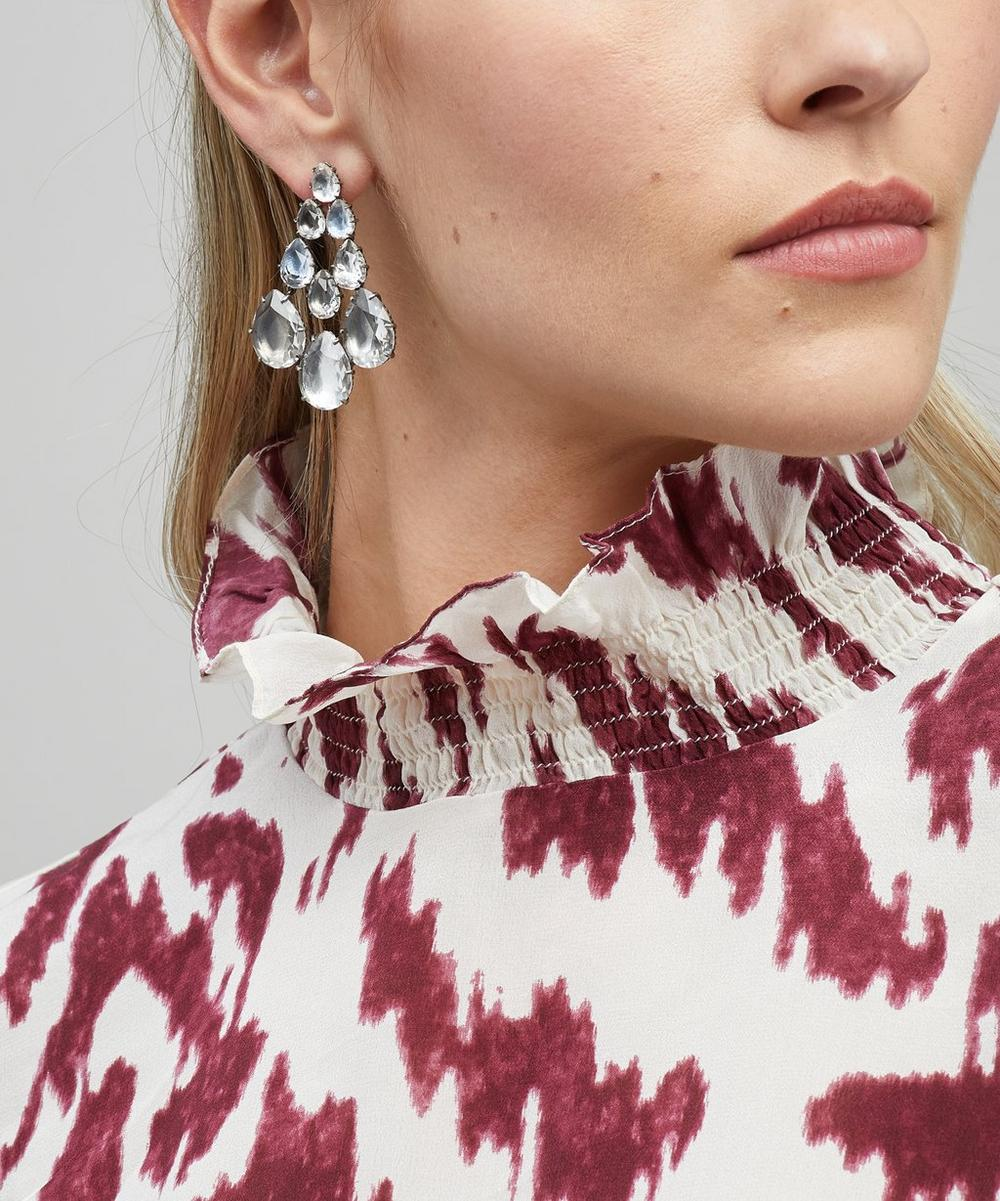 Rhodium-Washed Silver Caterina Chandelier White Quartz Drop Earrings