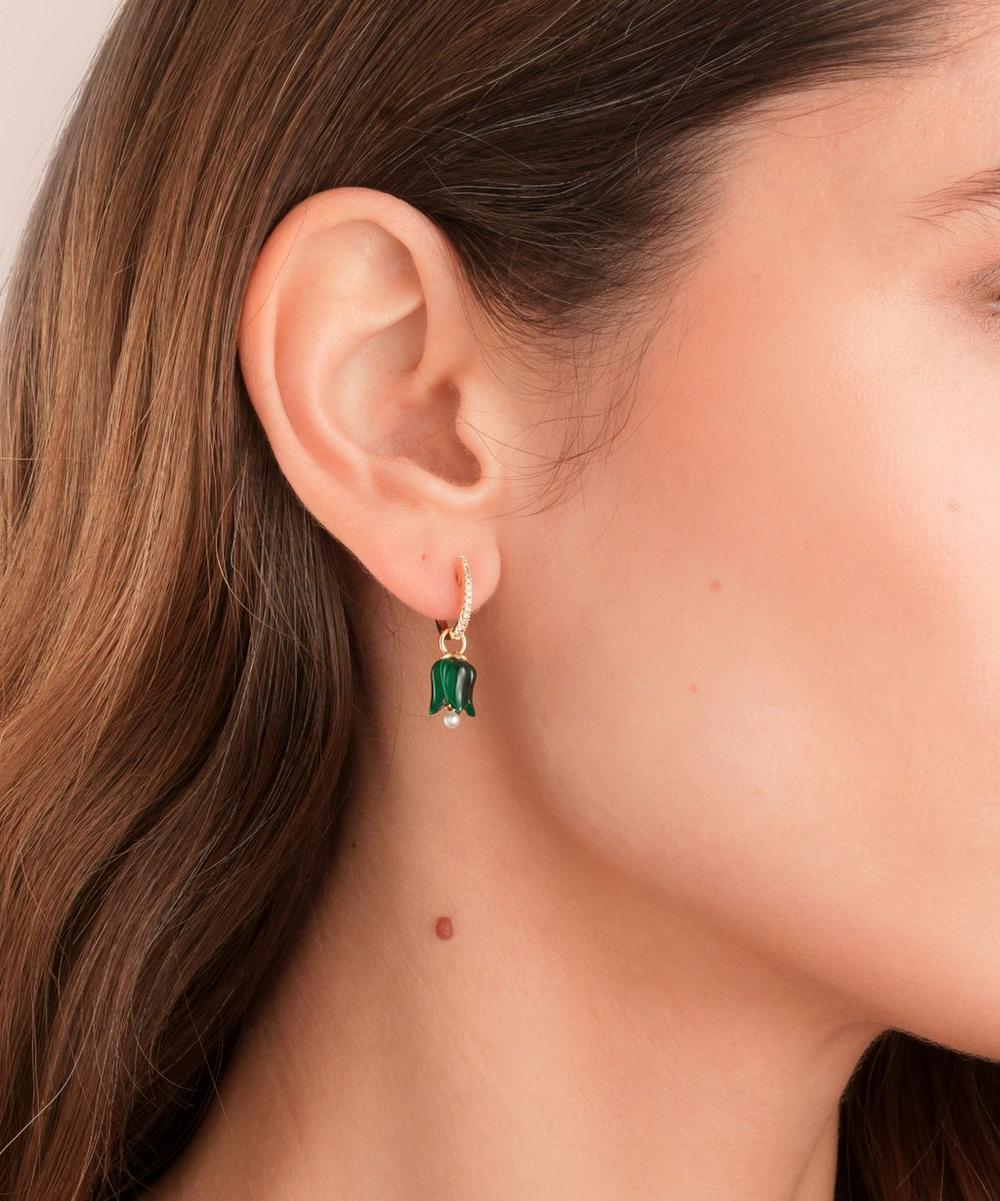 18ct Gold Malachite and Pearl Tulip Earring Drops