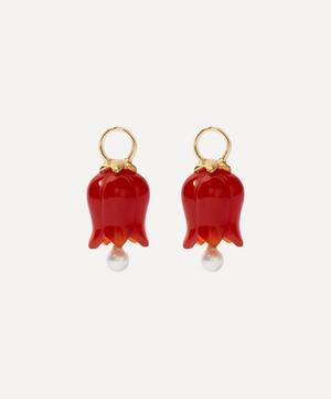 18ct Gold Red Agate and Pearl Tulip Earring Drops
