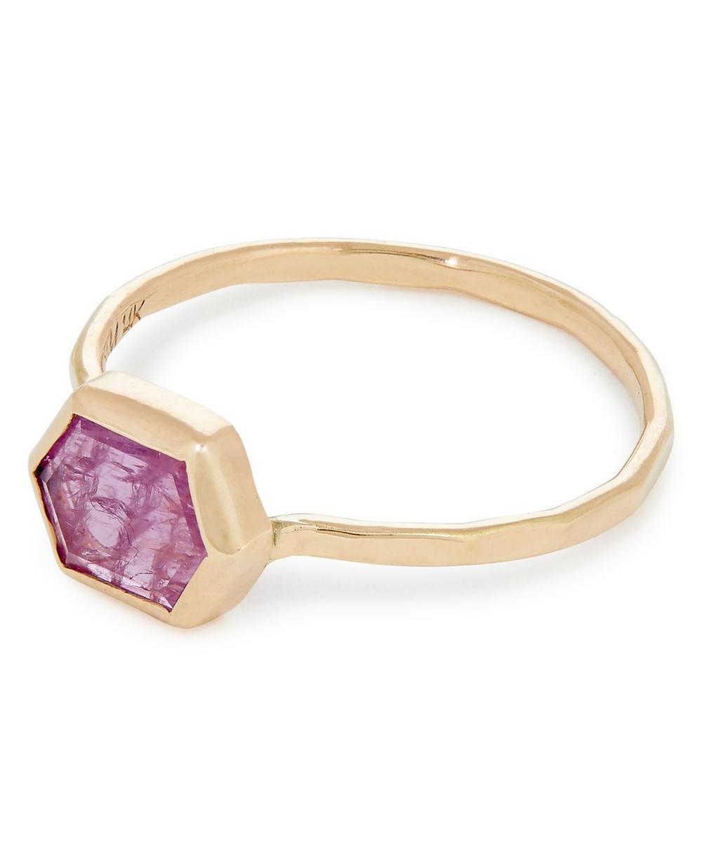 Gold Hexagonal Pink Sapphire Ring