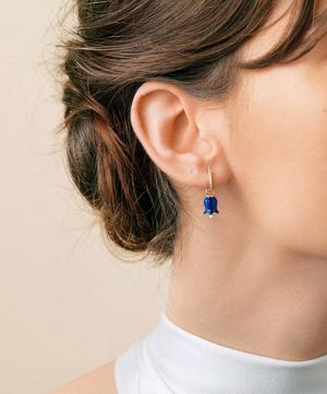 18ct Gold Lapis Lazuli and Pearl Tulip Earring Drops