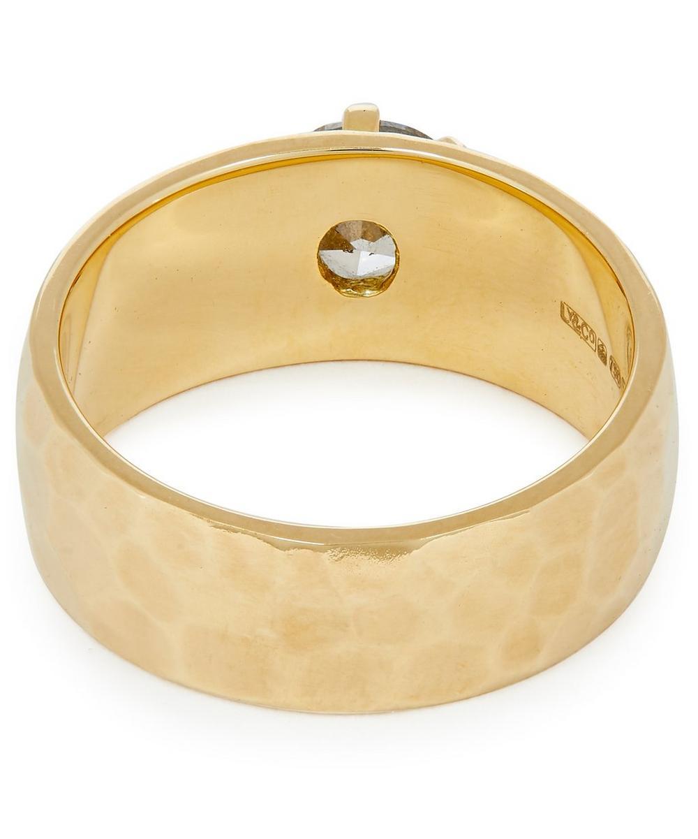 Gold Grey Diamond Cigar Band Ring