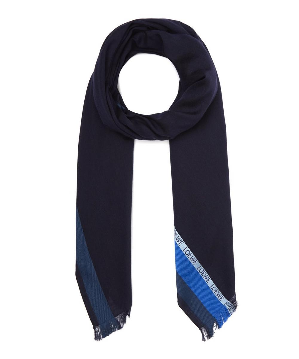 Logo Jacquard Striped Scarf
