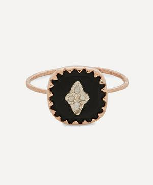 9ct Rose Gold Pierrot Diamond and Bakelite Ring