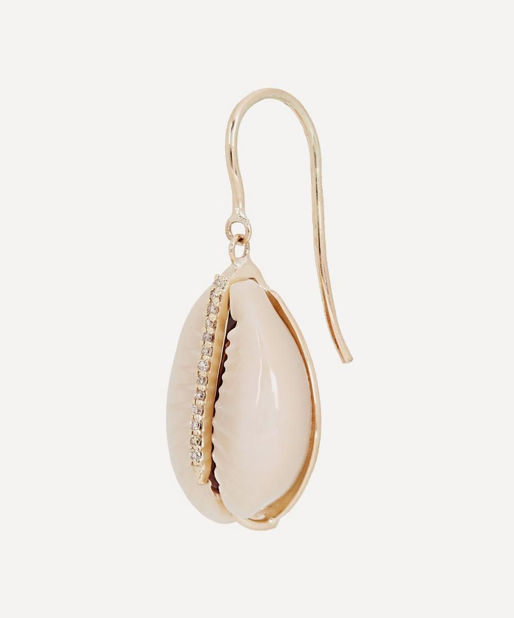 Gold Cauri Diamond Shell Drop Earring