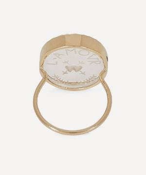 Gold L'Amour Engraved Crystal Ring