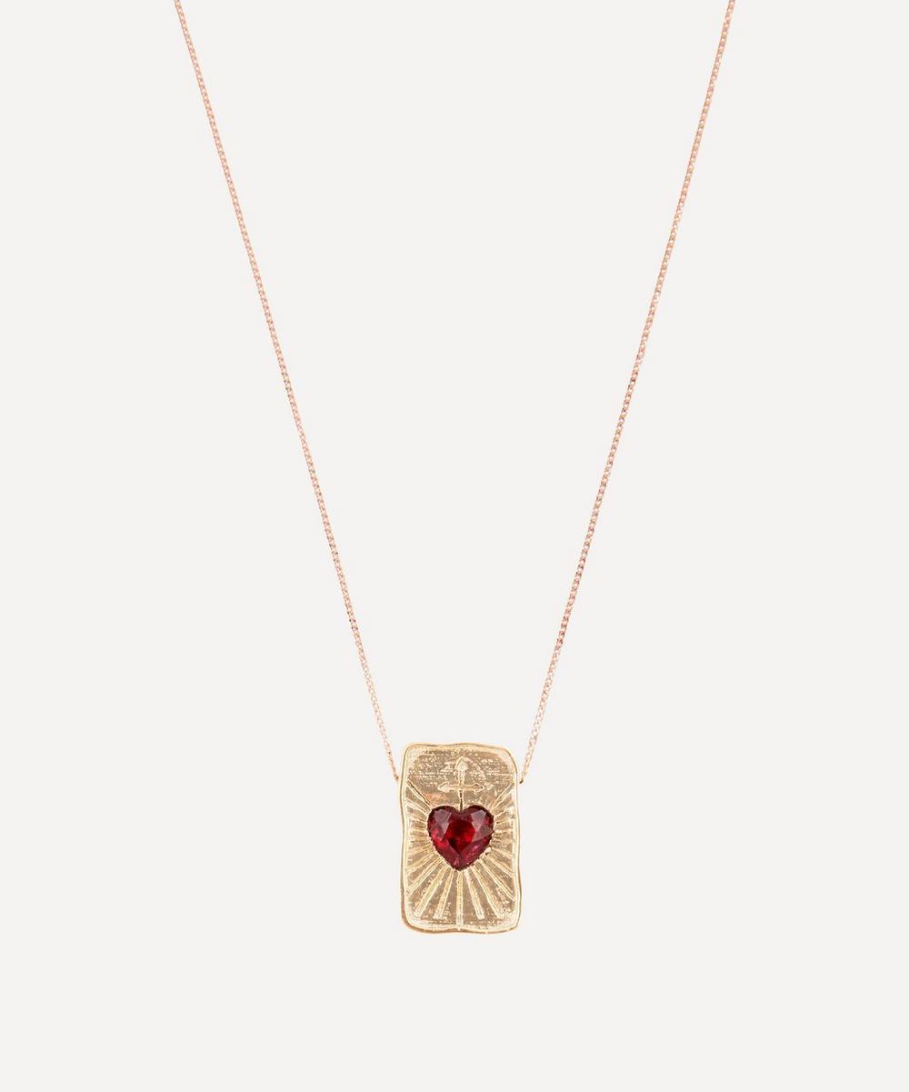 Pascale Monvoisin - 9ct Rose Gold L'Amour Garnet Heart Pendant Necklace