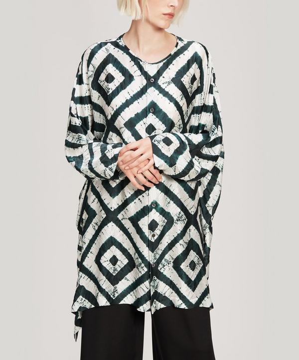 Expanding Squares Shibori Silk Shirt