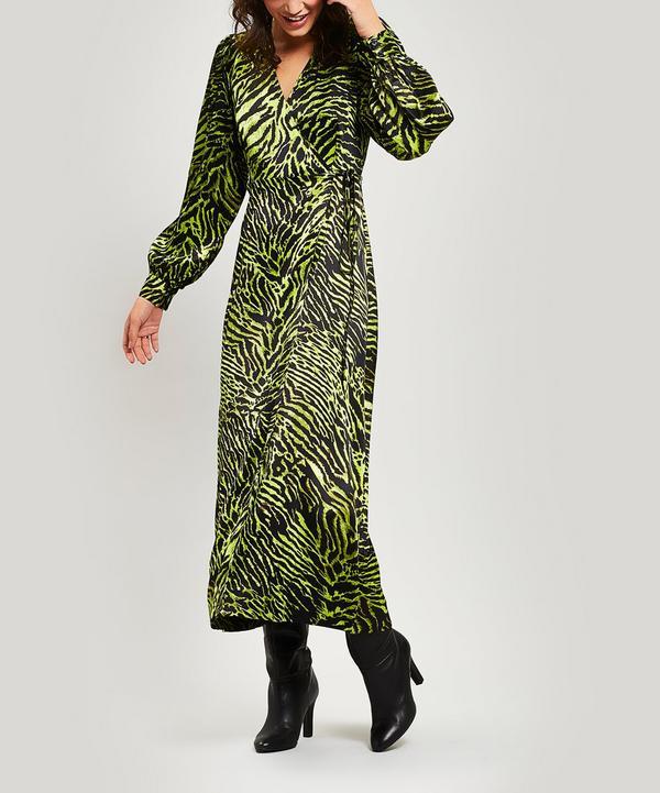 Silk Stretch Satin Tiger Wrap Dress