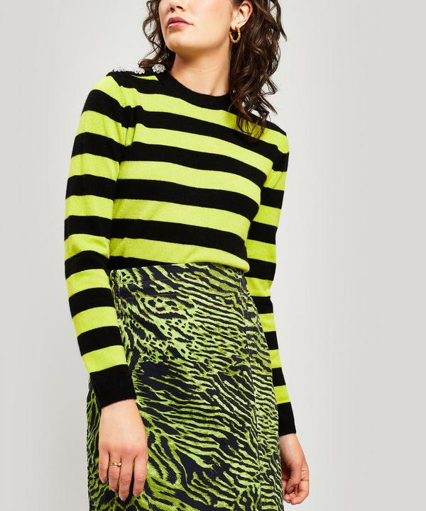 712cf63b9a53 Crystal-Embellished Striped Cashmere Sweater ...