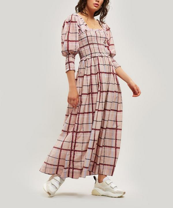 Shirred Check Maxi-Dress