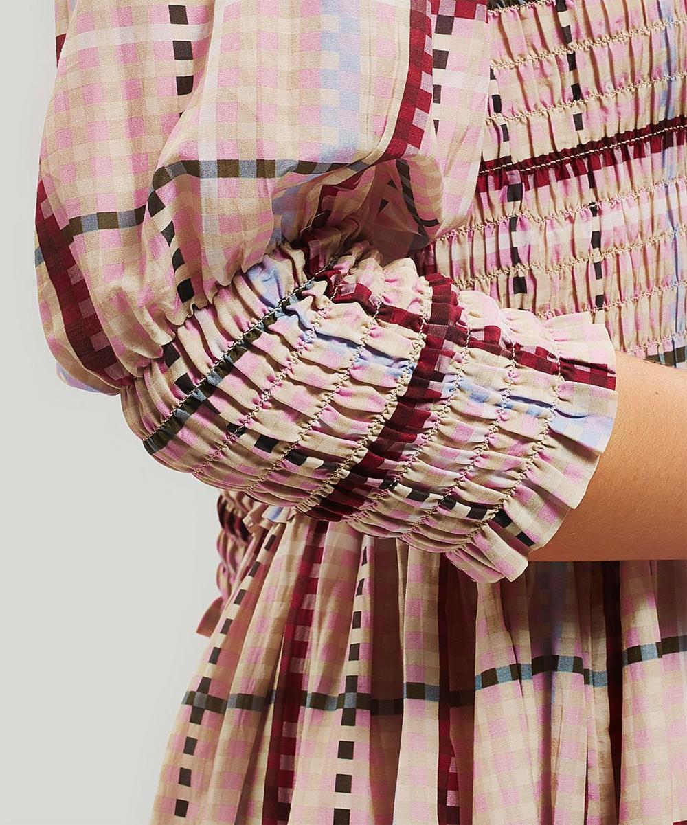 Shirred Check Maxi-Dress