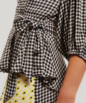 Gingham Wide Sleeve Wrap-Shirt
