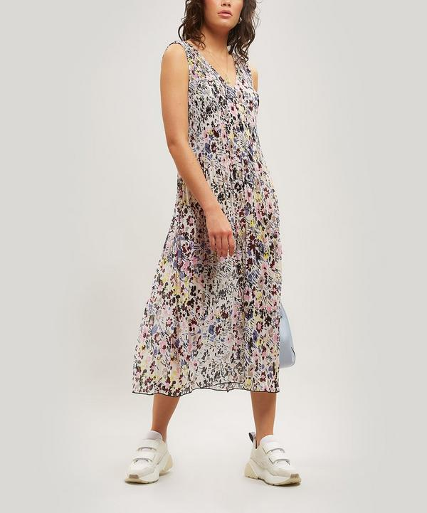 5f45d6d9a4 Abstract Floral Print Sleeveless Midi-Dress ...