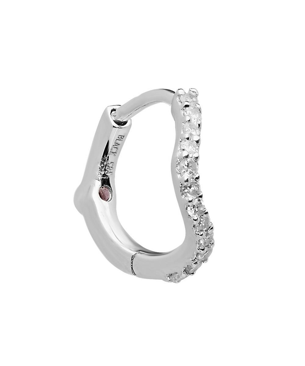 White Gold Diamond Wave Huggie Hoop Earring