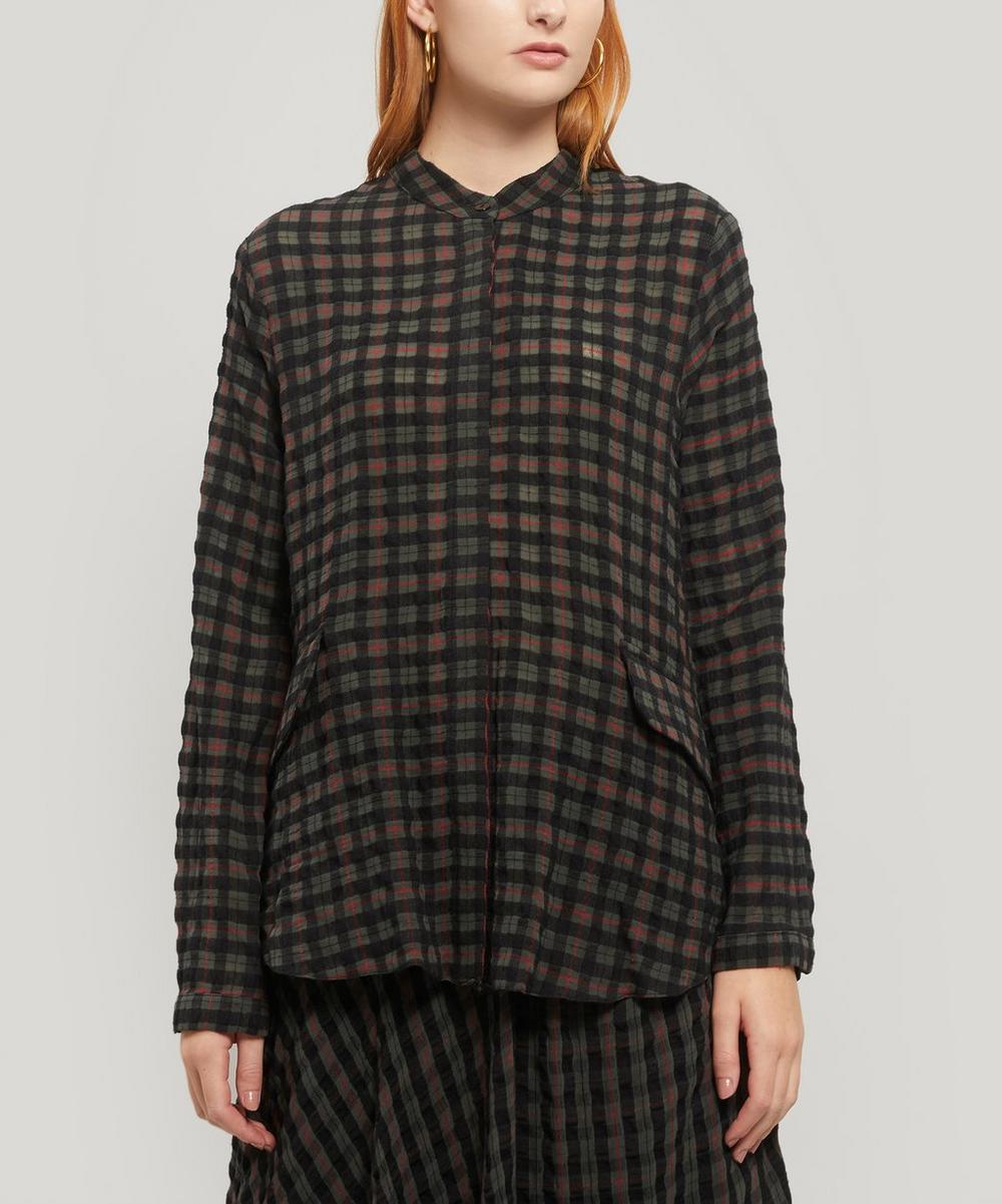 Wool-Blend Long Check Shirt