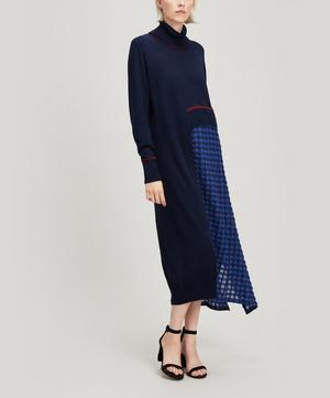 Check Panelled Roll-neck Dress