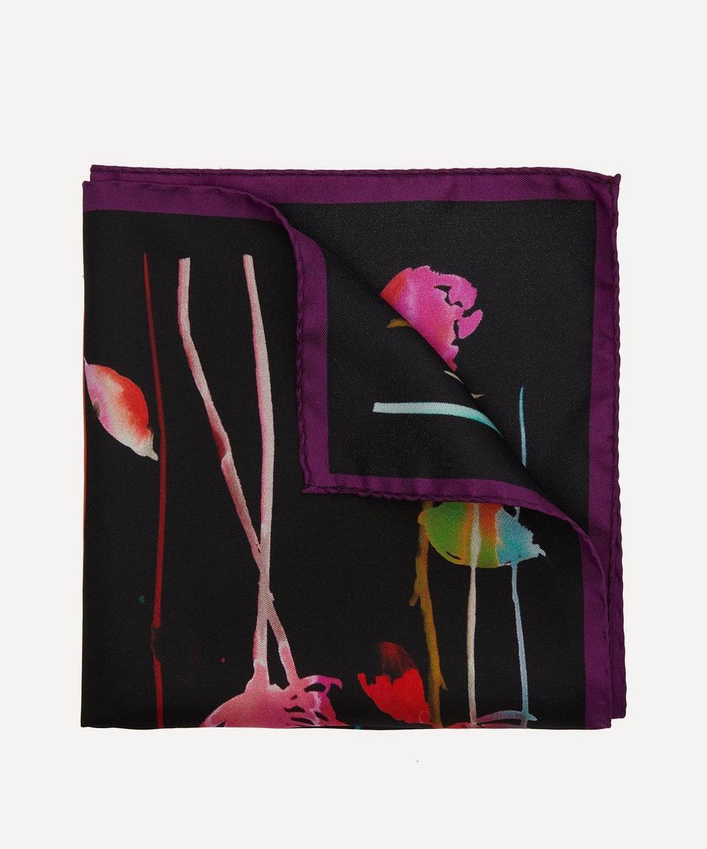 Modern Floral Print Silk Pocket Square