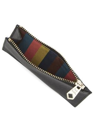 Straw-Grained Contrast Leather Zip Pouch