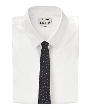 Feather Print Silk Tie