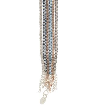 Silver Striped Silk Wide Chain Bracelet