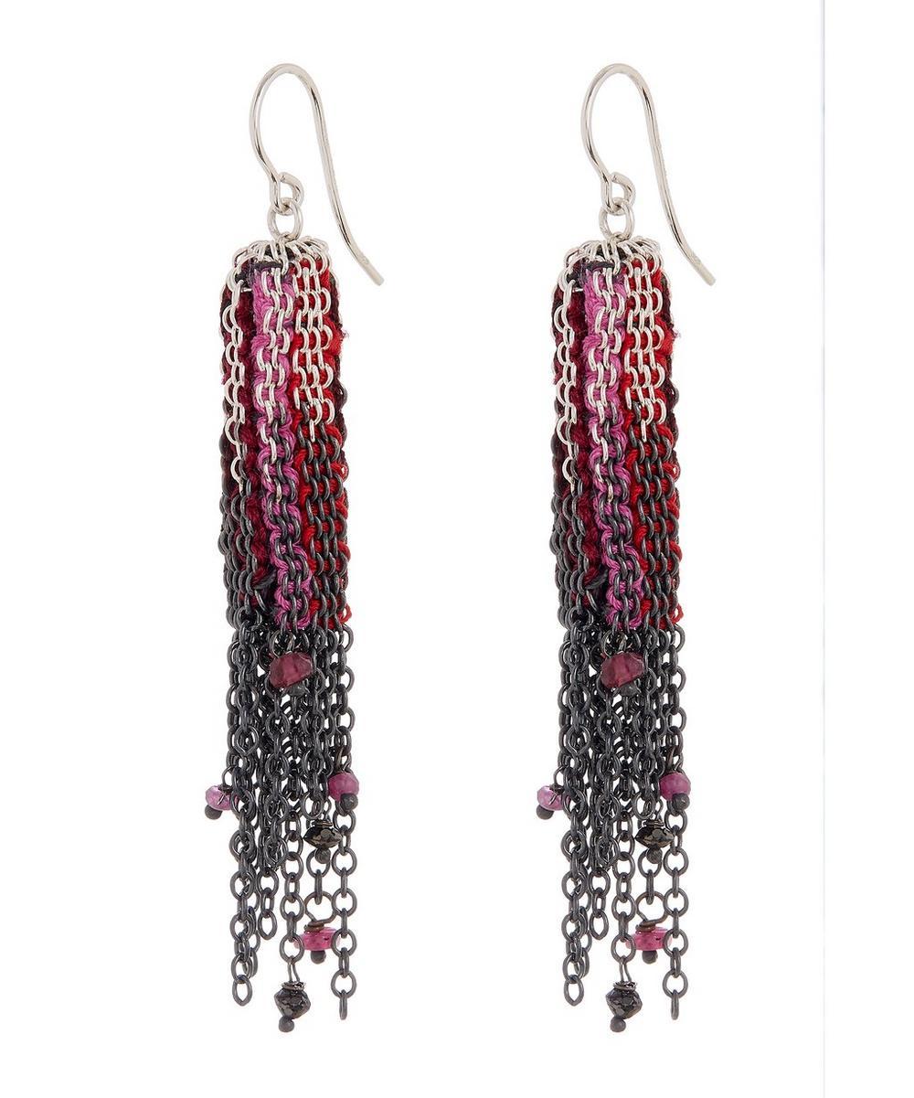 Silver Silk Fringe Chain Drop Earrings