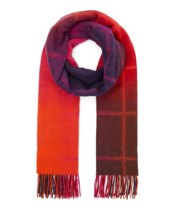 Ombré Check Wool Scarf
