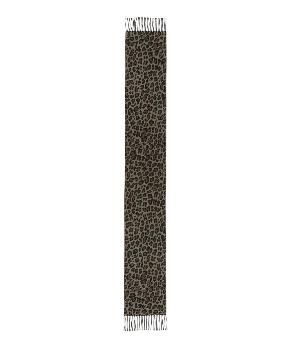 Leopard Print Jacquard Wool Scarf