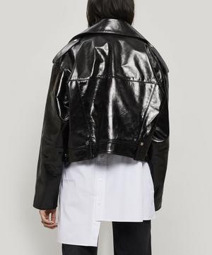Oversized Glossed-Leather Biker Jacket