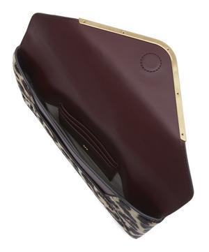 Leopard Print Calf Hair Postbox Clutch Bag