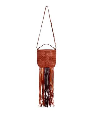 Neeson Mini Drawstring Fringe Woven Leather Bucket Bag