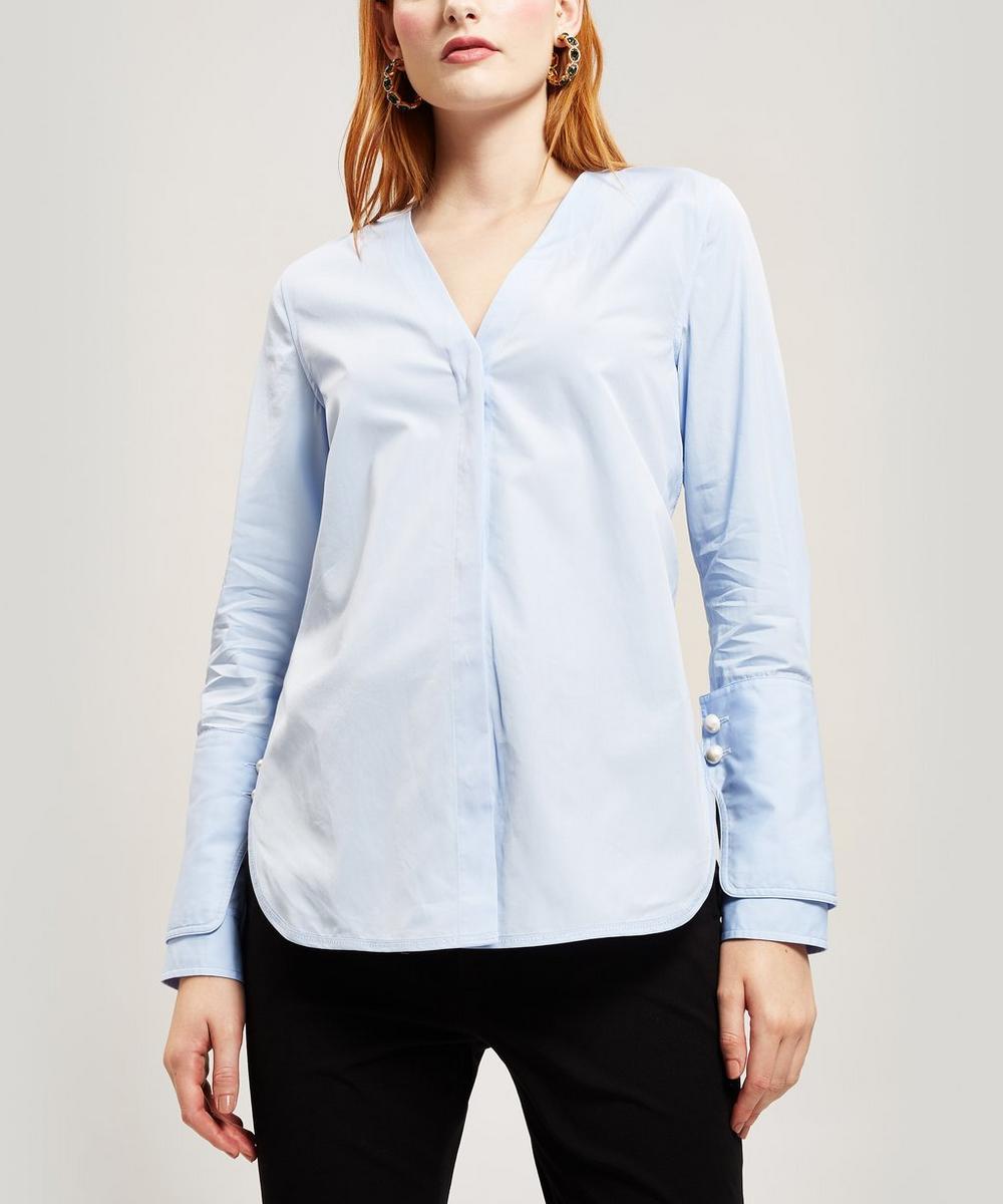 Contrast Button Cuffs Cotton Shirt