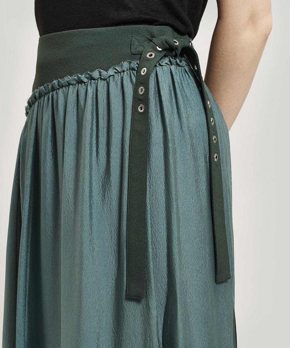 Belted Silk Midi-Skirt
