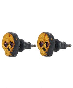 Oxidised Silver Ruby Skull Stud Earrings