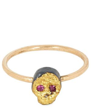 Gold and Oxidised Silver Ruby Skull Ring