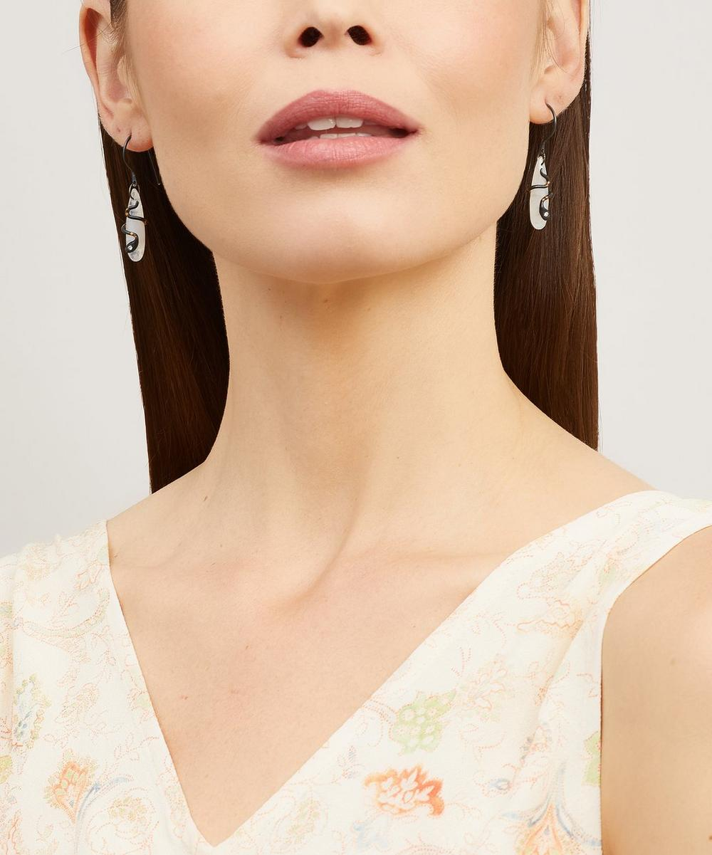 Oxidised Silver Moonstone and Diamond Snake Drop Earrings