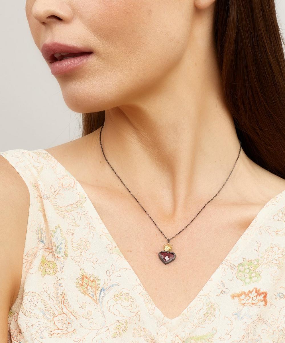 Oxidised Silver Garnet Sacred Heart Pendant Necklace