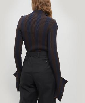 Striped Button Wide Neck Jumper