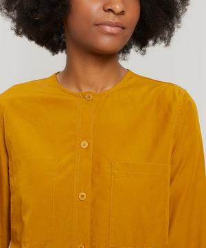 Collarless Button-Up Shirt