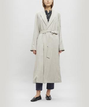 Long Lapel Coat with Waist Tie