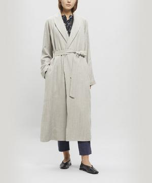Long Lapel Coat with Waist Tie