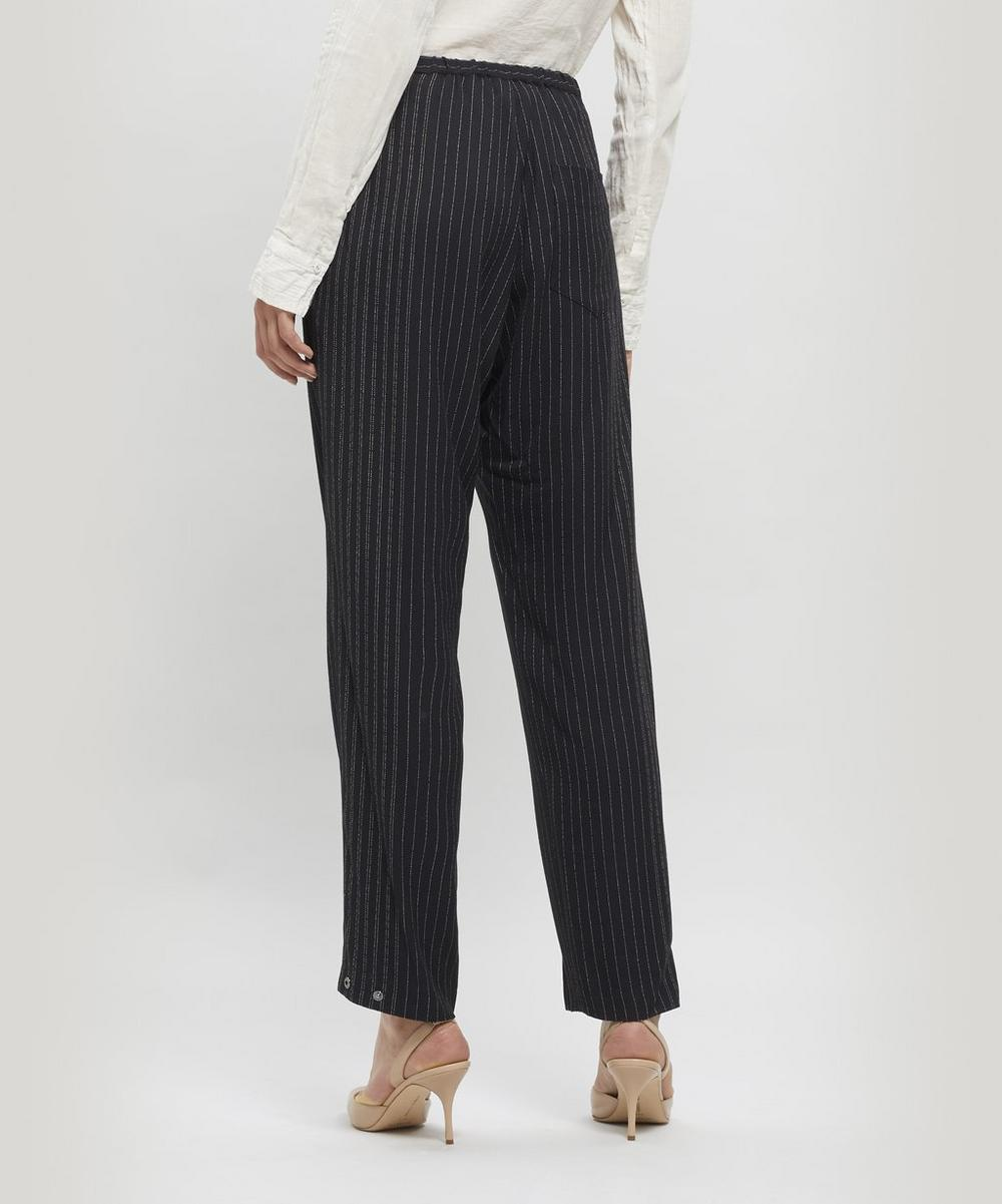 Drawstring Cropped Pinstripe Trousers