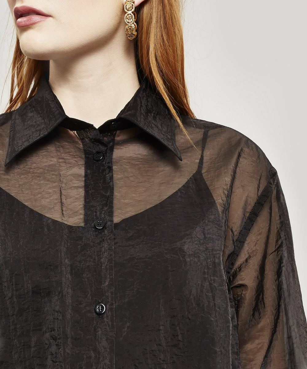 Long Sleeve Sheer Organza Shirt Dress